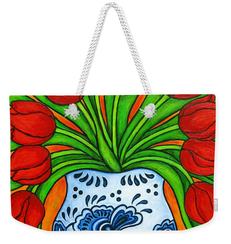White Weekender Tote Bag featuring the painting Dutch Delight by Lisa Lorenz