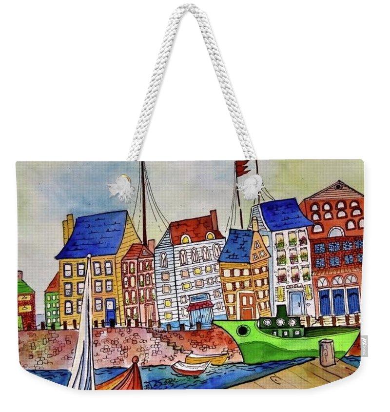 Harbor Weekender Tote Bag featuring the painting Dutch Harbor by Jayne Lucas