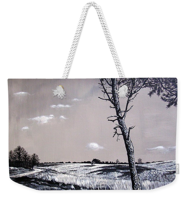 Duotone Weekender Tote Bag featuring the painting Dutch Heathland by Arie Van der Wijst