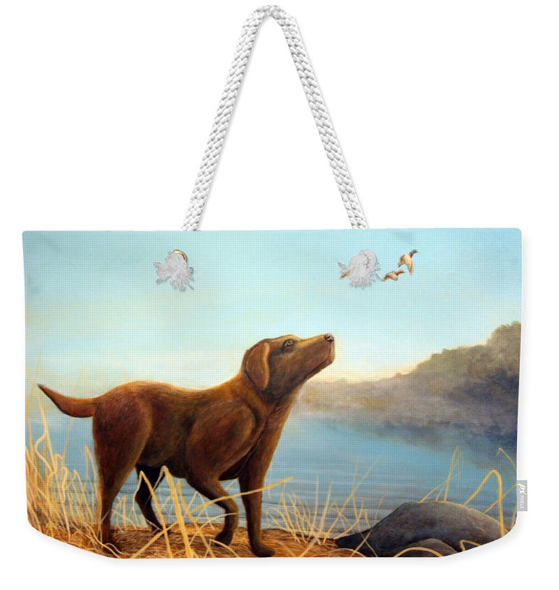 Chocolate Lab Painting Weekender Tote Bag featuring the Dutch by Rick Huotari