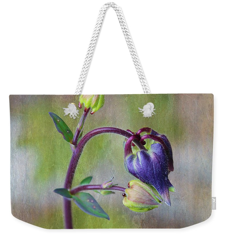 Tiny Weekender Tote Bag featuring the photograph Columbine Budding by Nina Silver