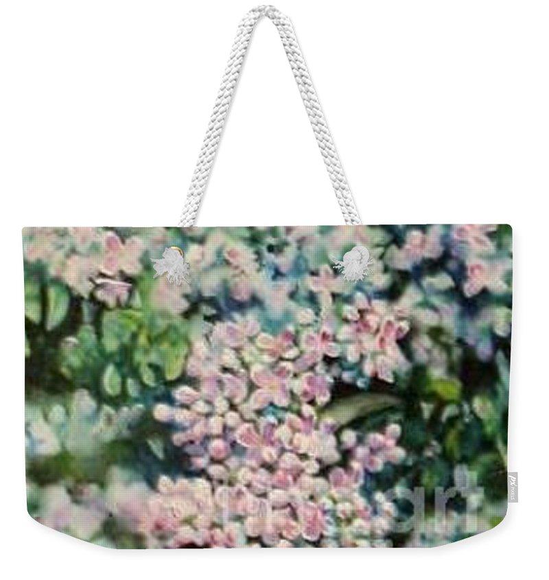 Lilacs Weekender Tote Bag featuring the painting Dwarf Korean Lilac by Karen Sloan