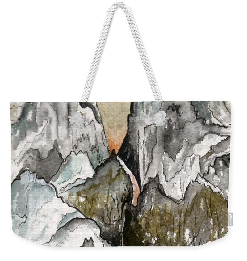 Landscape Weekender Tote Bag featuring the painting Dwimorberg   The Haunted Mountain by Brenda Owen