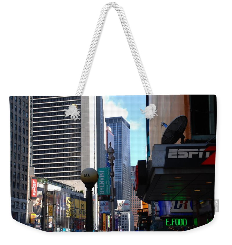 Food Weekender Tote Bag featuring the photograph E Food Taxi New York City by Rob Hans