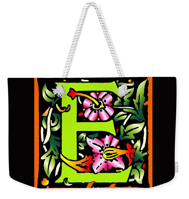 Alphabet Weekender Tote Bag featuring the digital art E In Green by Kathleen Sepulveda