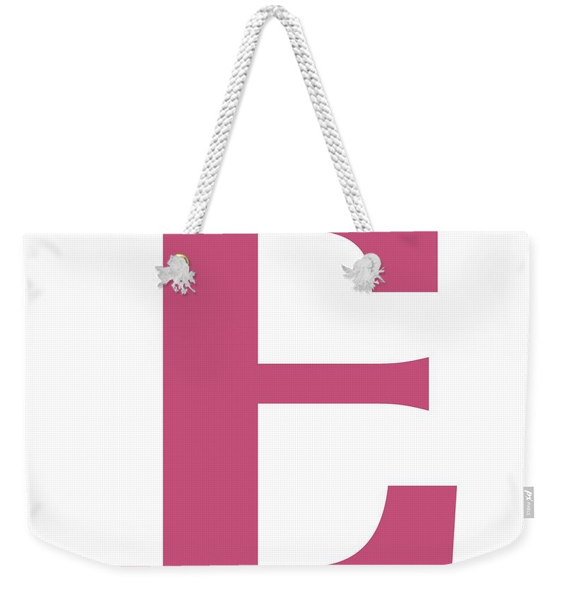 E Weekender Tote Bag featuring the digital art E In Pink Typewriter Style by Custom Home Fashions