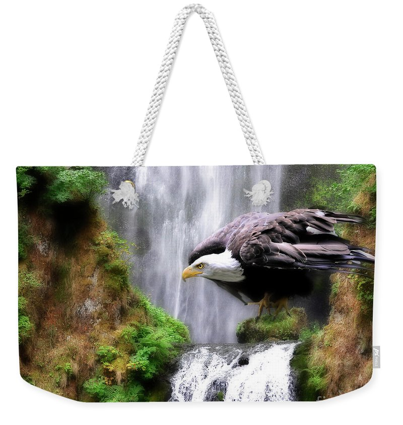 Eagle Weekender Tote Bag featuring the painting Eagle By The Waterfall by Constance Woods