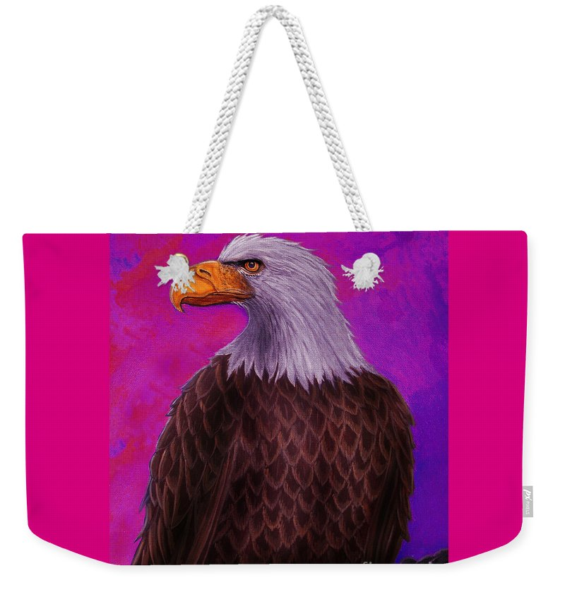 Eagle Weekender Tote Bag featuring the painting Eagle Crimson Skies by Nick Gustafson