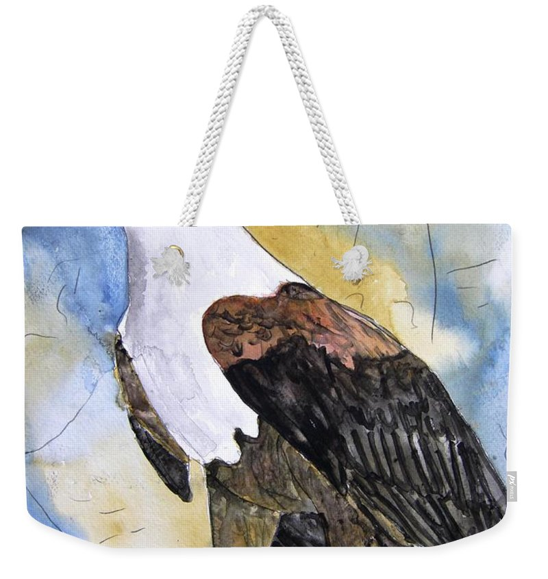 Realistic Weekender Tote Bag featuring the painting Eagle by Derek Mccrea