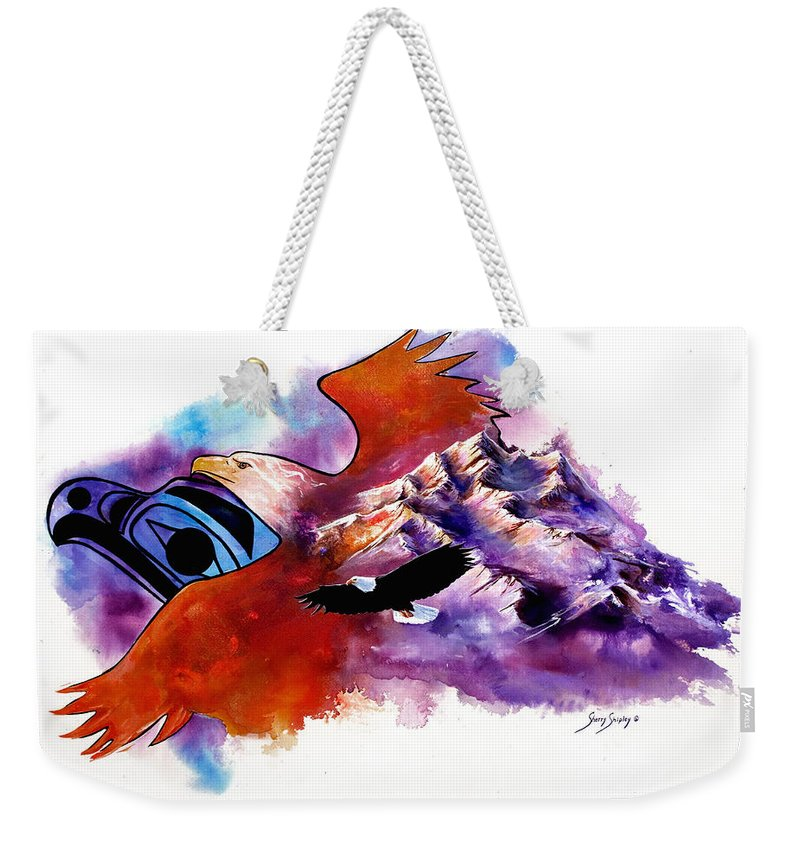 Bird Weekender Tote Bag featuring the painting Eagle Rise by Sherry Shipley