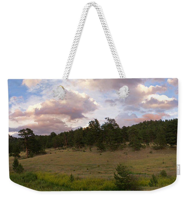 Eagle Roick Weekender Tote Bag featuring the photograph Eagle Rock Estes Park Colorado by Heather Coen