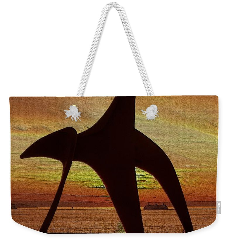 Seattle Weekender Tote Bag featuring the digital art Eagle Sunset Over Elliott Bay by Tim Allen
