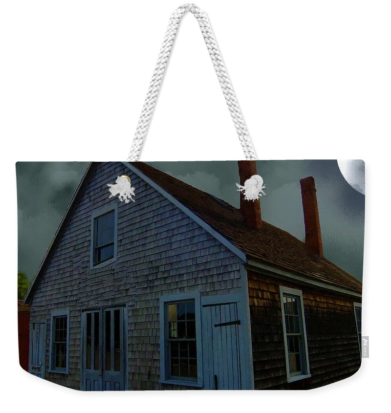 Autumn Weekender Tote Bag featuring the painting Early American Moonlight by RC DeWinter