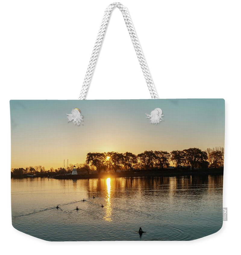 Georgia Mizuleva Weekender Tote Bag featuring the photograph Early Birds In Teal And Orange by Georgia Mizuleva