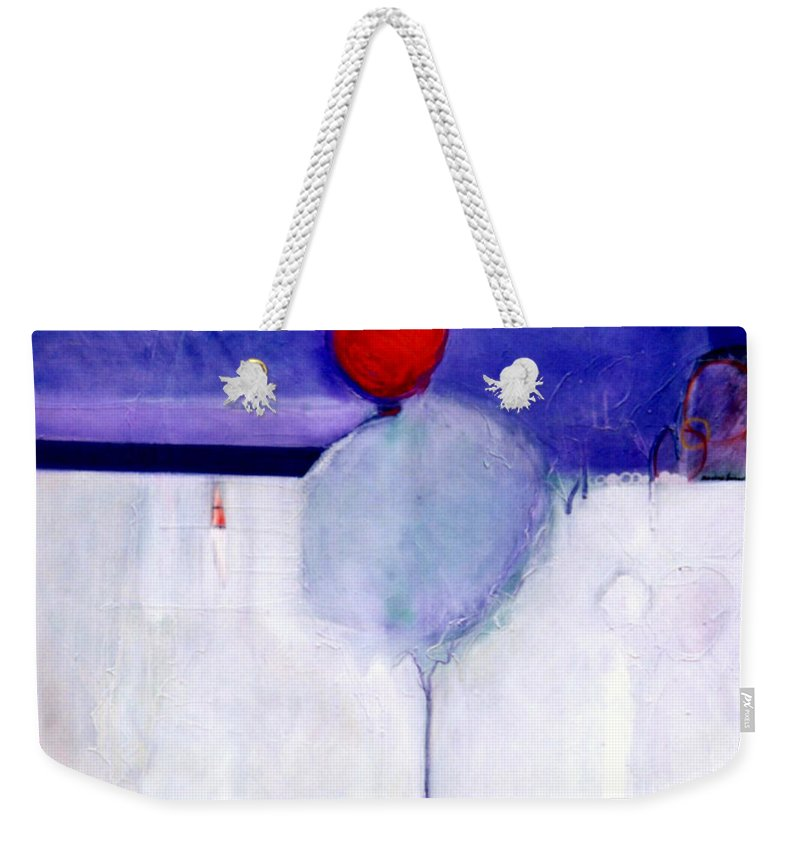 Abstract Weekender Tote Bag featuring the painting Early Blob 1 Optic Illusion by Marlene Burns