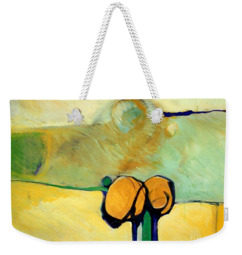 Abstract Weekender Tote Bag featuring the painting Early Blob 2 Jump Rope by Marlene Burns