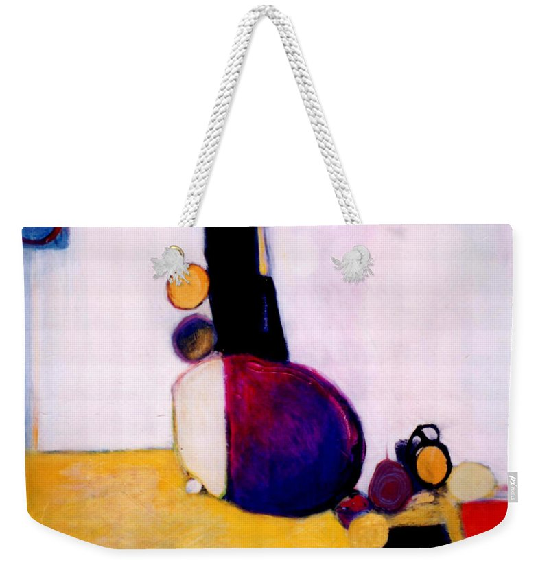 Abstract Weekender Tote Bag featuring the painting Early Blob Having A Ball by Marlene Burns