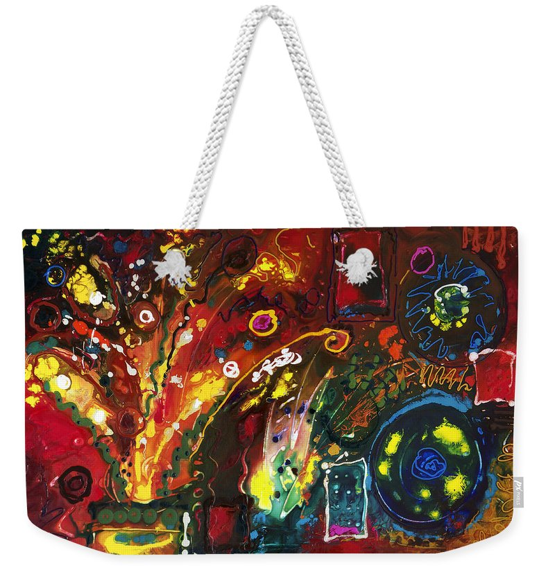 Floral Weekender Tote Bag featuring the painting Early Bouquet by Sally Trace