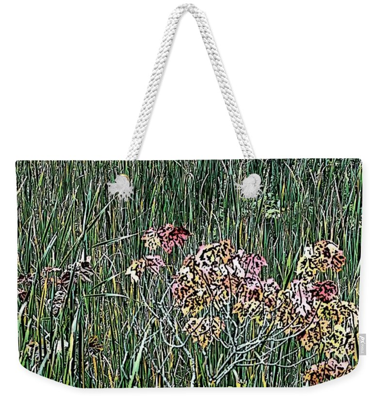 Digital Photograph Weekender Tote Bag featuring the photograph Early Fall Color Woodcut by David Lane