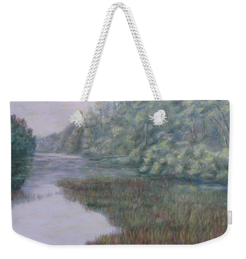 Pastel Weekender Tote Bag featuring the pastel Early Fall Serenity by Joann Renner