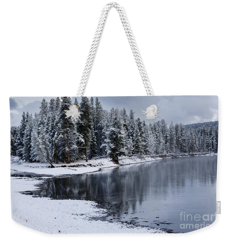 Yellowstone Weekender Tote Bag featuring the photograph Early Fall Storm In Yellowstone by Sandra Bronstein