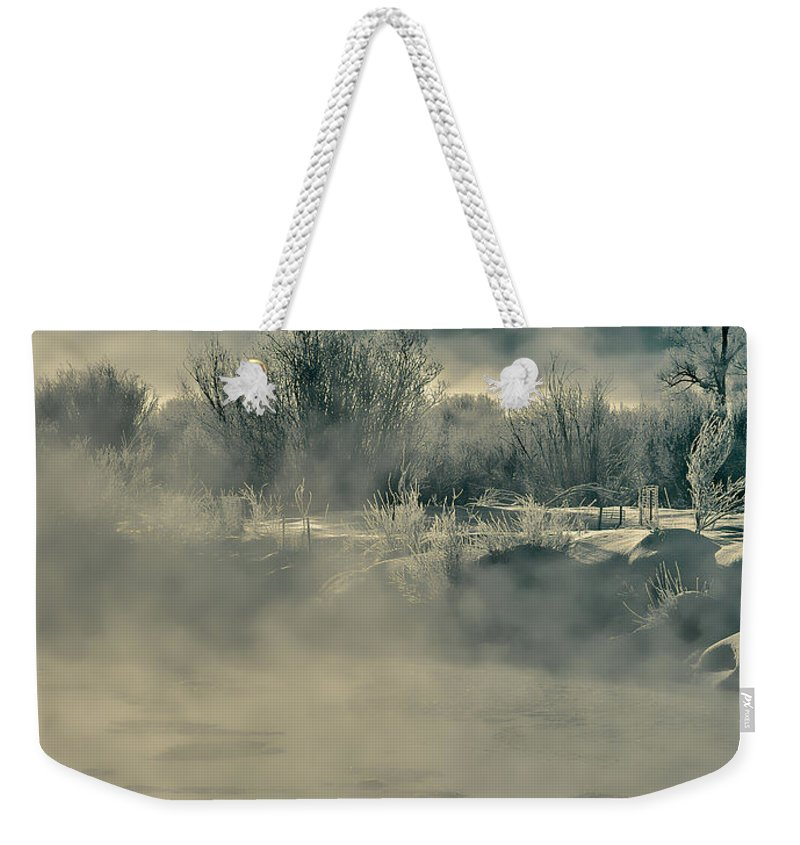 River Weekender Tote Bag featuring the photograph Early Morning Frost On The River by Don Schwartz