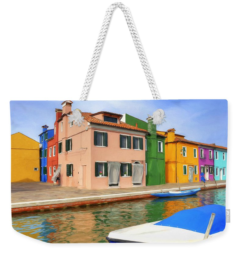 Isola Weekender Tote Bag featuring the painting Early Morning In Isola Di Burano by Dominic Piperata