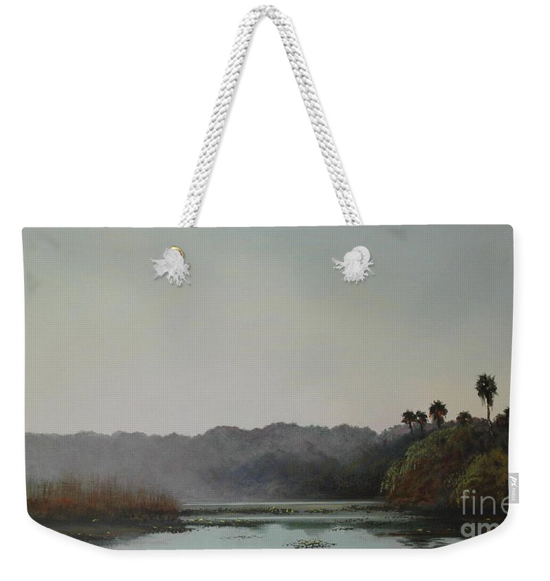 Lakes Weekender Tote Bag featuring the painting Early Morning Mist by Michael Nowak