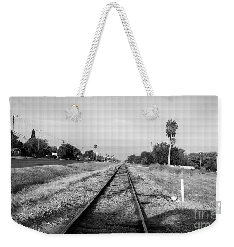 Railroad Tracks Weekender Tote Bag featuring the photograph Early Morning On The Rail by William H Freeman Jr