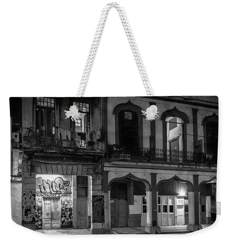 Joan Carroll Weekender Tote Bag featuring the photograph Early Morning Paseo Del Prado Havana Cuba Bw by Joan Carroll