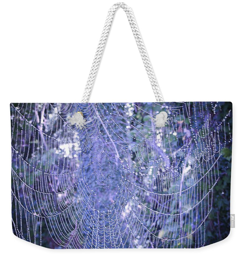 Living Room Weekender Tote Bag featuring the photograph Early Morning Pearls Dew Kissed Spider Web by Johnnie Stanfield