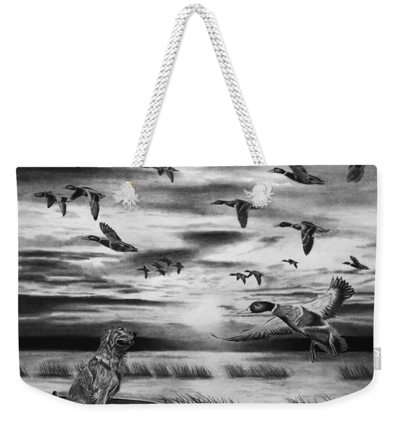 Early Morning Weekender Tote Bag featuring the drawing Early Morning by Peter Piatt