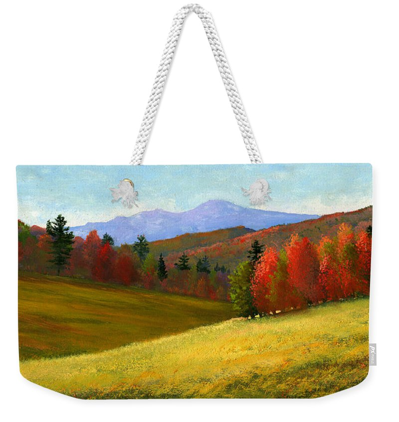 Landscape Weekender Tote Bag featuring the painting Early October by Frank Wilson