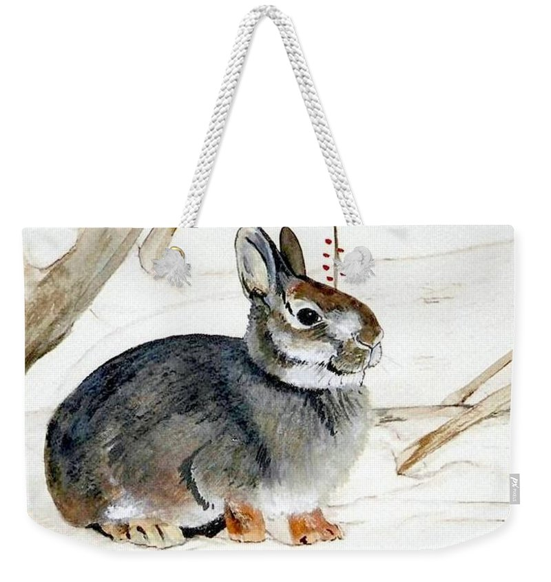 Rabbit Weekender Tote Bag featuring the painting Early Snow by Debra Sandstrom