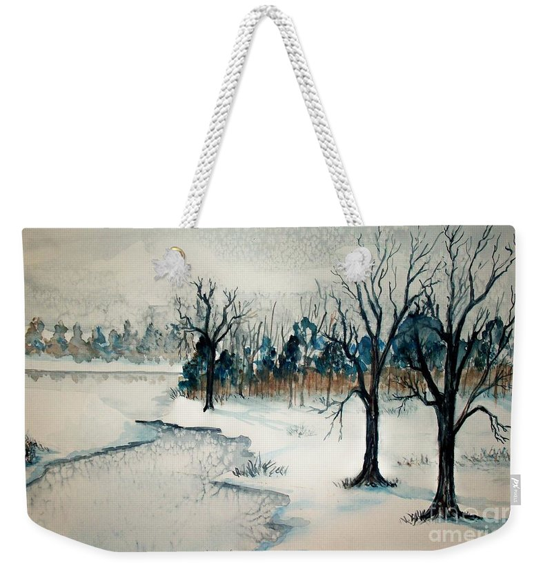 Snow Weekender Tote Bag featuring the painting Early Snow by Sandra McClure