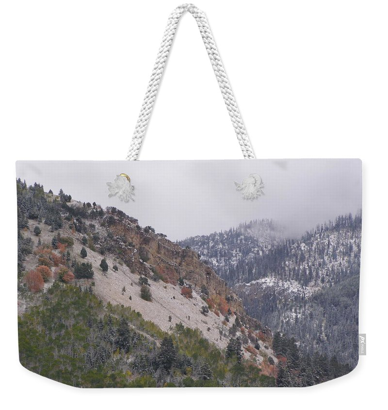 Mountain Weekender Tote Bag featuring the photograph Early Snows by DeeLon Merritt