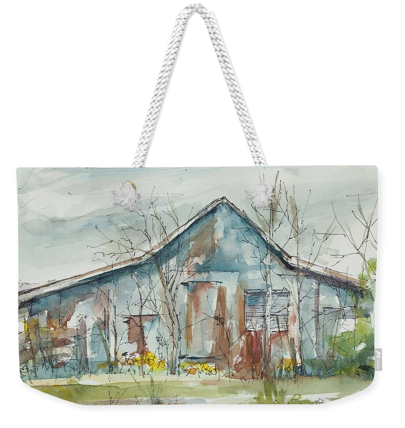 Barn Weekender Tote Bag featuring the painting Early Spring by Ava Obert