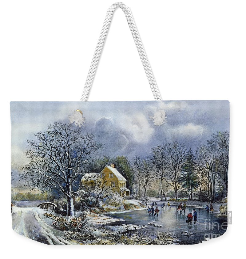 Weekender Tote Bag featuring the painting Early Winter, 1869 by Granger