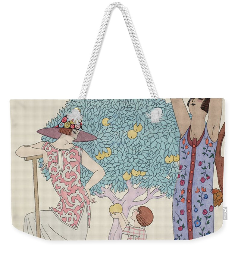 Barbier Weekender Tote Bag featuring the drawing Earth by Georges Barbier