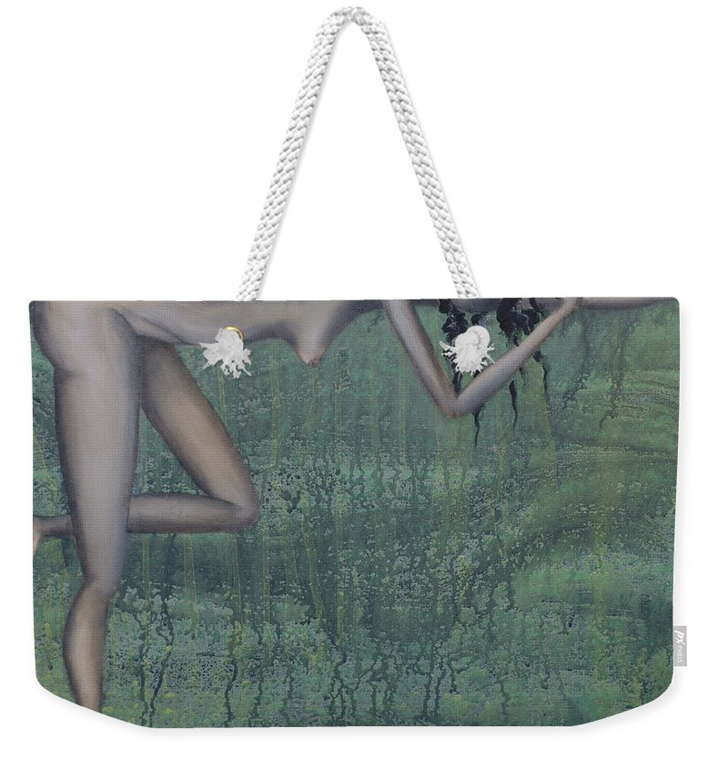Earth Weekender Tote Bag featuring the painting Earth Woman by Kelly Jade King