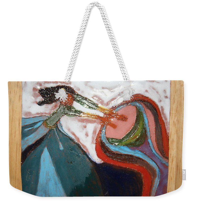 Jesus Weekender Tote Bag featuring the ceramic art Eartha - Tile by Gloria Ssali