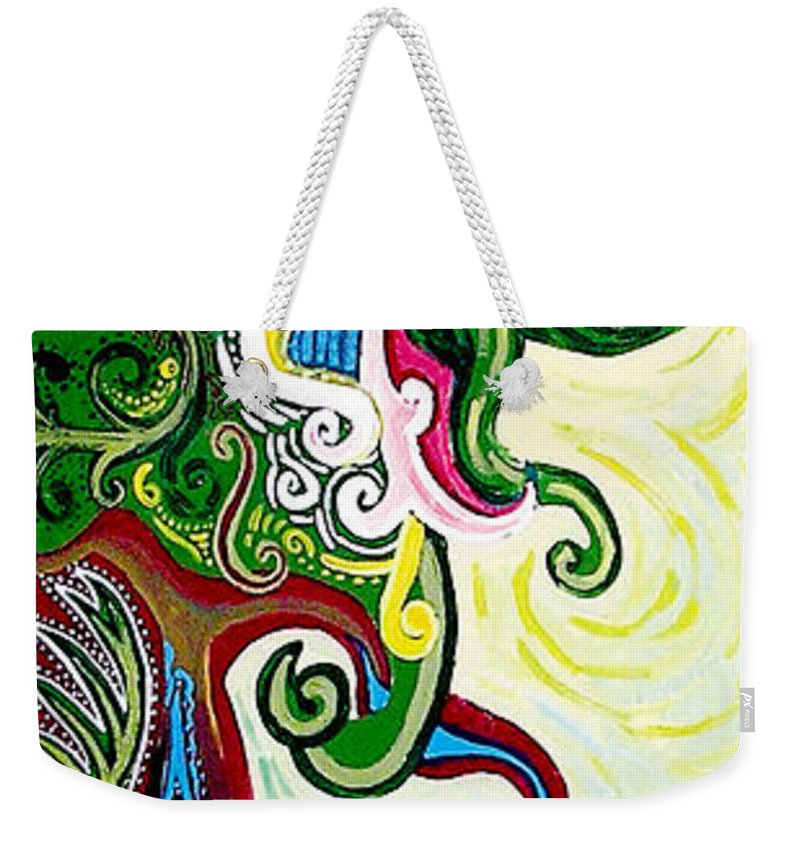 Mother Earth Weekender Tote Bag featuring the painting Earths Tears by Genevieve Esson