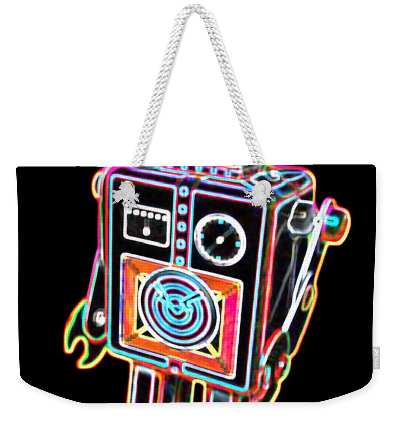 Robot Weekender Tote Bag featuring the digital art Easel Back Robot by DB Artist