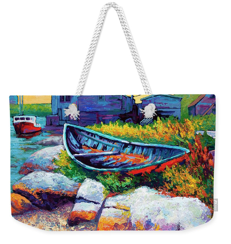 Boat Weekender Tote Bag featuring the painting East Coast Boat by Marion Rose