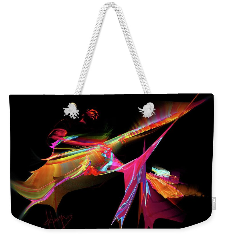 Guitar Weekender Tote Bag featuring the painting East Of The Sun by DC Langer