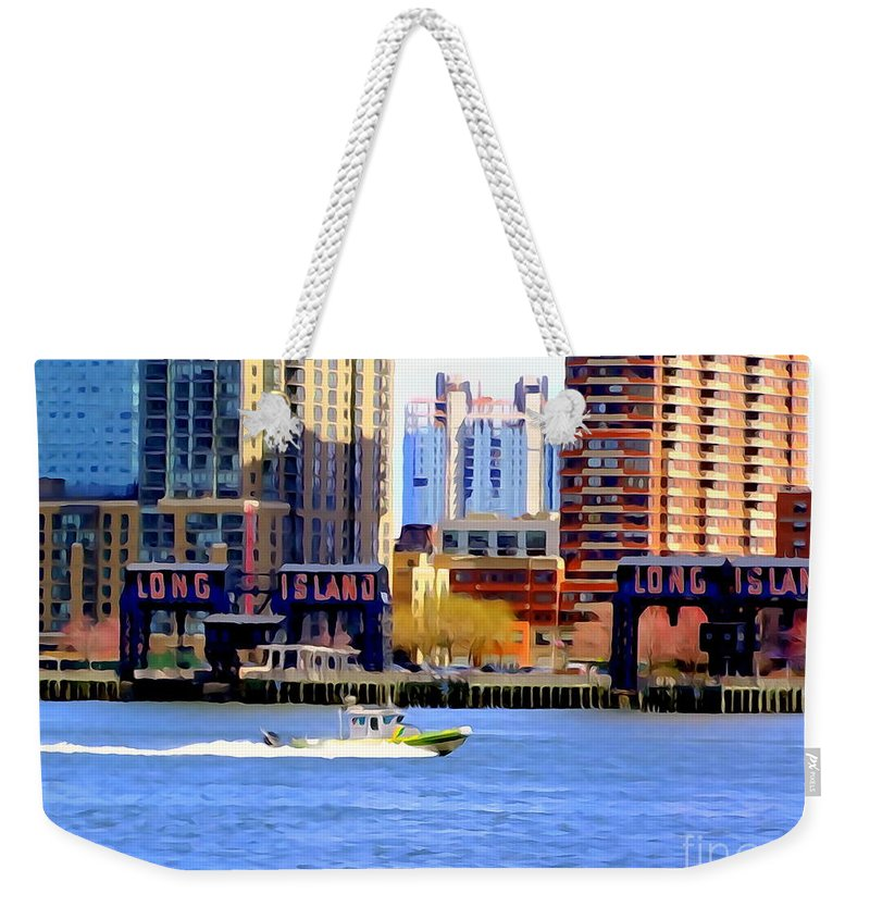 Digital Art Weekender Tote Bag featuring the photograph East River Scene by Ed Weidman