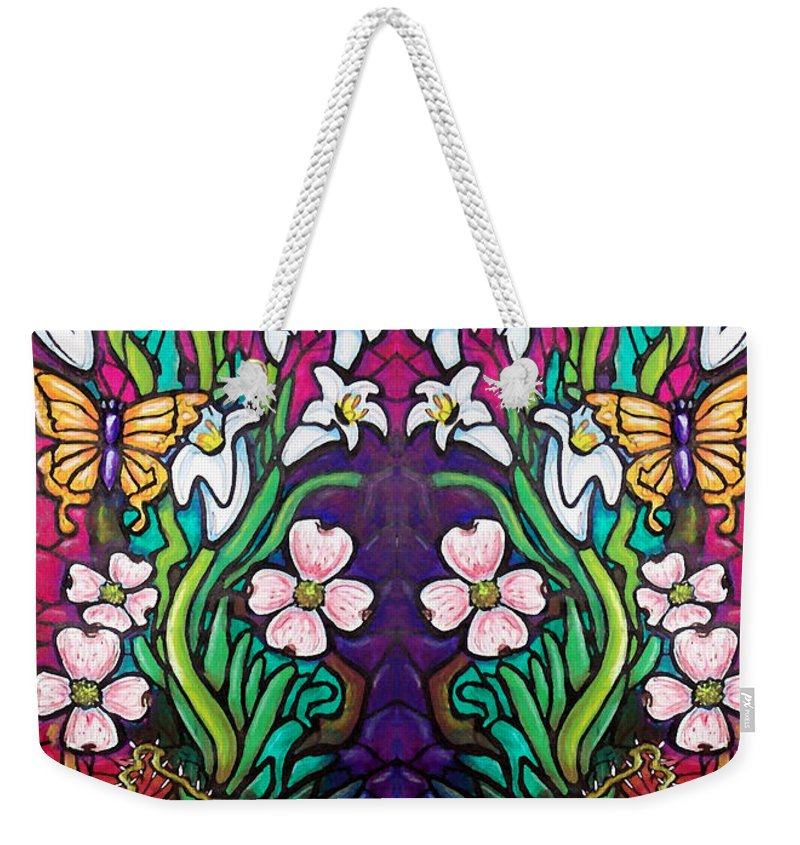 Easter Weekender Tote Bag featuring the painting Easter Banner by Kevin Middleton