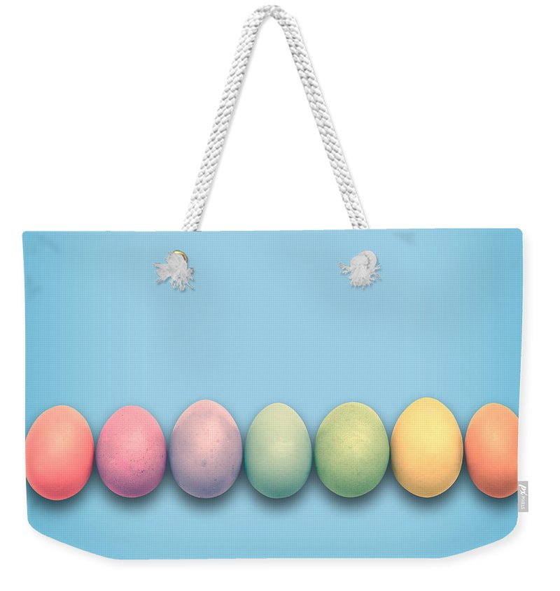 Easter Weekender Tote Bag featuring the photograph Easter Eggs, Blue by Delphimages Photo Creations