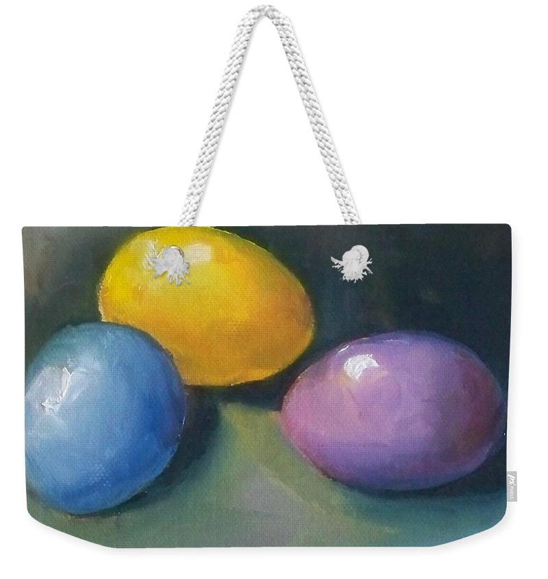 Easter Eggs Weekender Tote Bag featuring the painting Easter Eggs No. 1 by Kristine Kainer