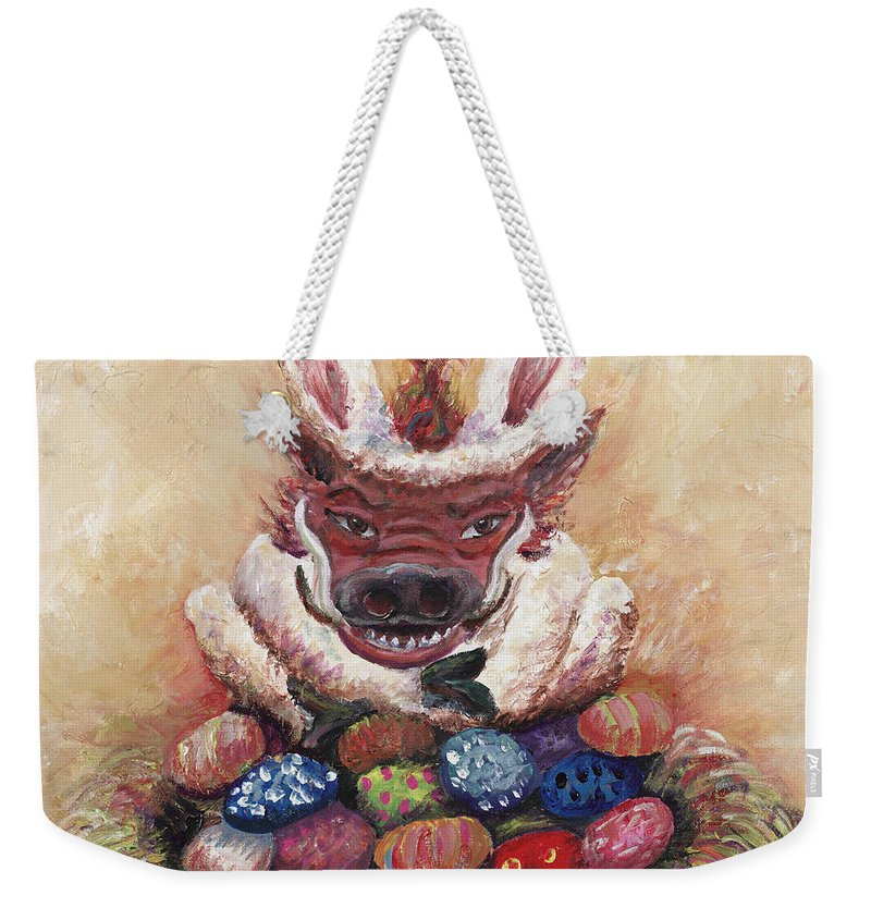 Easter Weekender Tote Bag featuring the painting Easter Hog by Nadine Rippelmeyer
